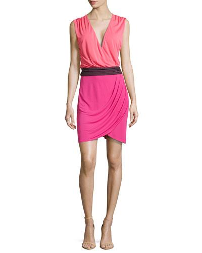 Colorblock Wrap-Style Dress, Tulip/Berry