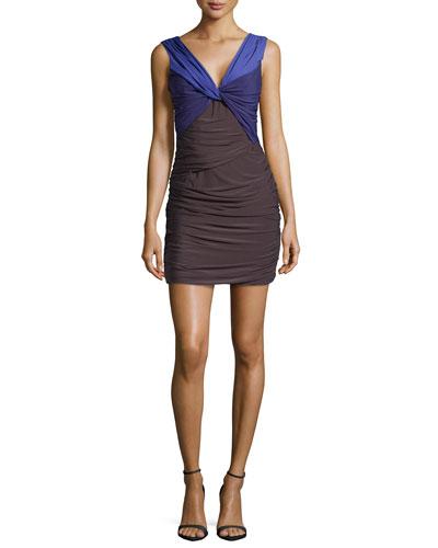 Sleeveless Twist-Front Dress, Slate/Violet