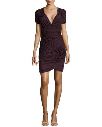 Ruched Faille V-Neck Dress, Aubergine