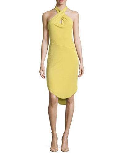 Sleeveless Keyhole Dress, Straw