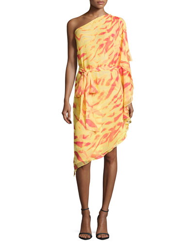 One-Shoulder Animal-Print Draped-Ruffle Dress, Coral