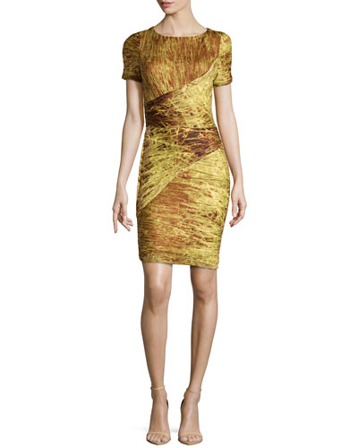 Ruched Paneled Jersey Dress, Chartreuse