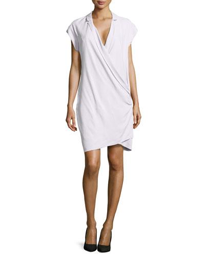Draped-Front Silk Wrap Dress, Freesia