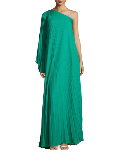 One-Shoulder Accordion-Pleated Draped Gown, Emerald