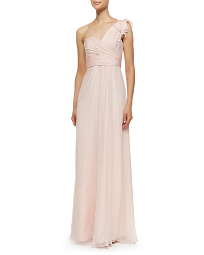 One-Shoulder Ruffle Detail Gown, Blush