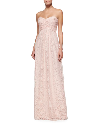 Strapless Ruched-Bodice Lace Gown