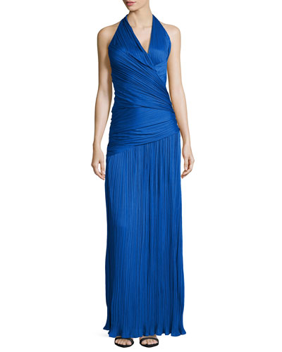 Pleated Wrap-Waist Halter Gown, Bright Cobalt