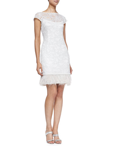 Lace Overlay Cocktail Dress W/ Feather Hem