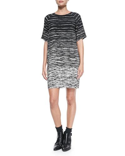 Printed Raglan-Sleeve Shift Dress