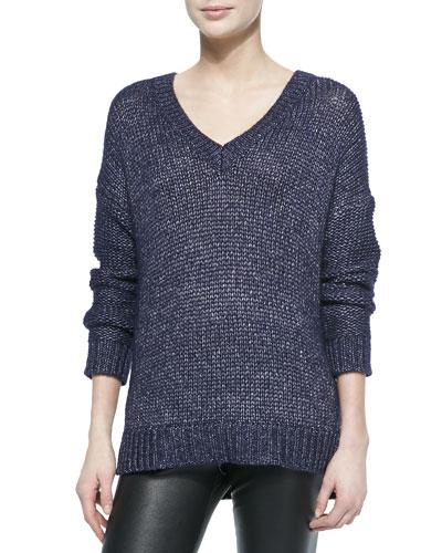 Metallic V-Neck Sweater, Navy