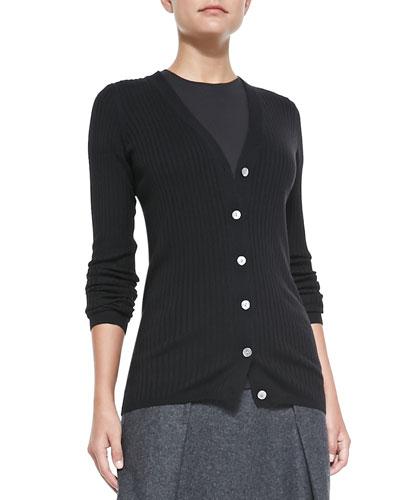 Skinny-Ribbed Knit Cardigan, Black