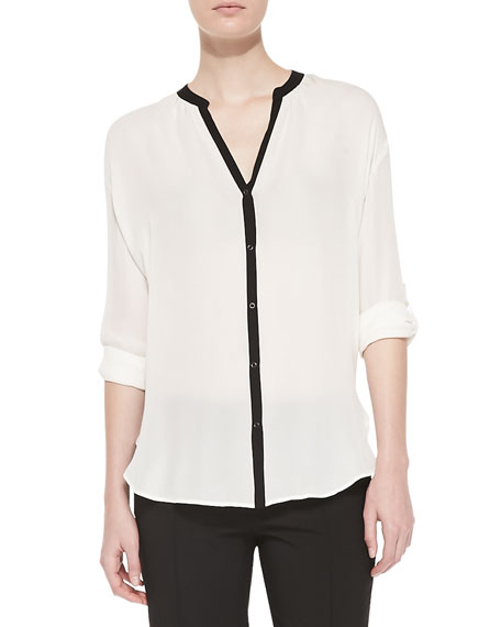 02e2bafadd19f5 Vince Contrast-Trim Silk Blouse, Off White/Black