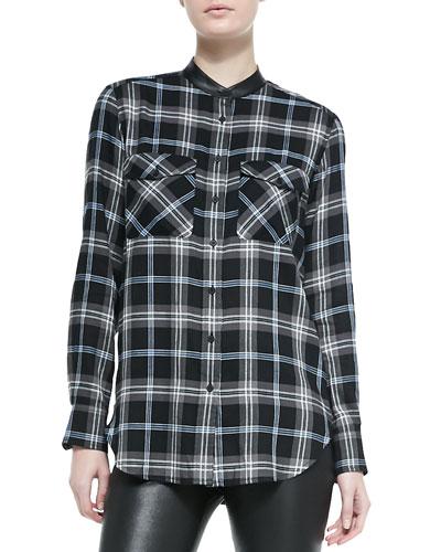 Leather-Trim Plaid Shirt