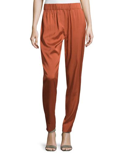 Smocked-Waist Silk Twill Pants, Spice