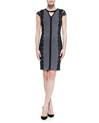 Colorblock Ponte Dress W/ Lace