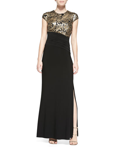 Cap-Sleeve Embellished-Bodice Gown