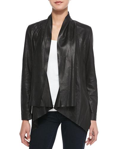 Drape-Front Leather Jacket, Black