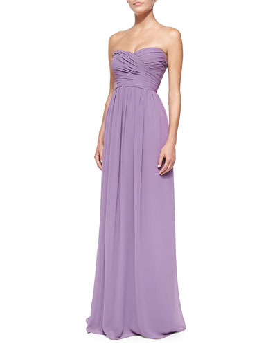 Strapless Ruched-Bodice Gown, Violet