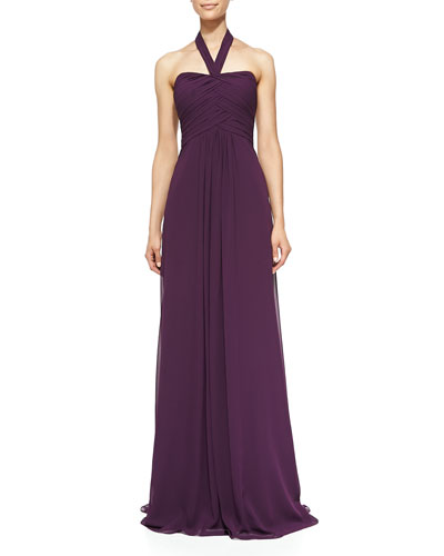Halter Woven Ruched-Bodice Gown, Plum