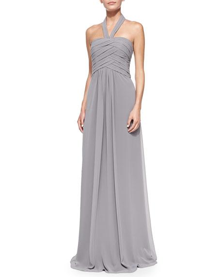 6cfc05268073a Monique Lhuillier Bridesmaids Halter Woven Ruched-Bodice Gown, Slate