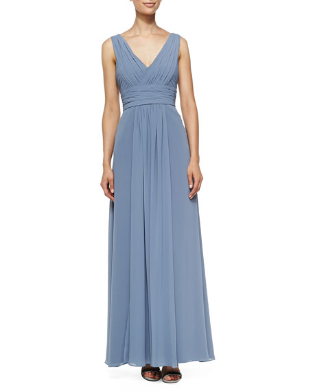 2d2272dbdb930 Monique Lhuillier Bridesmaids Sleeveless Deep V-Neck Gown, French Blue