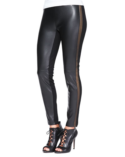 Ponte/Faux-Leather Slim Pants