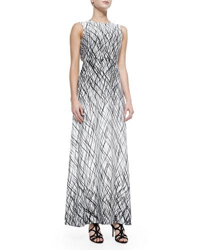 Chloey Sleeveless Drip-Paint Maxi Dress