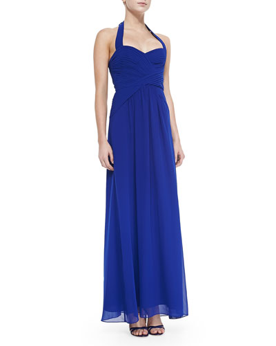 Selene Ruched Halter Gown