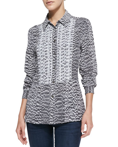 Trent Snake-Print Blouse with Contrast Bib