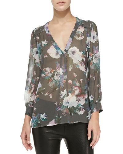 Aceline Long-Sleeve Semi-Sheer Floral Top