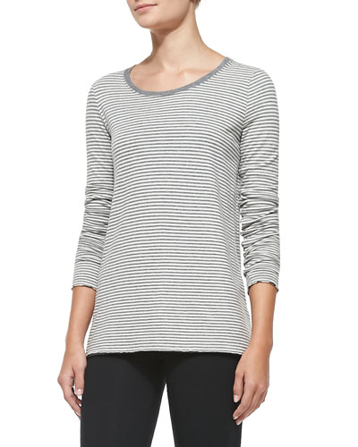 Long-Sleeve Striped Cotton Tee