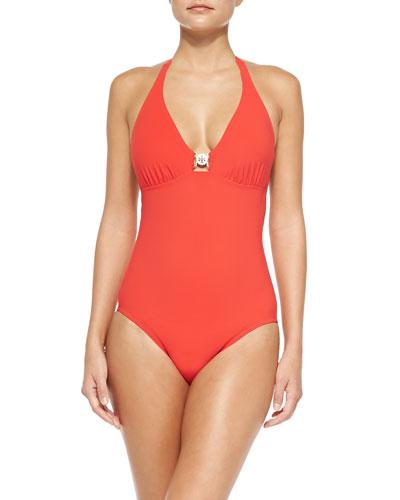 Logo One-Piece Swimsuit, Poppy Red