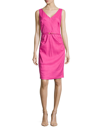 V-Neck Linen-Blend Pintuck Dress, Flower