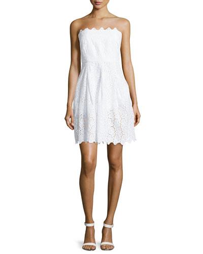 Strapless Eyelet Dress, Optic White