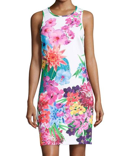 Floral-Print Scuba Jersey Dress