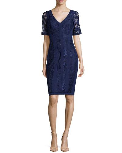 V-Neck Lace/Double-Knit Dress, Inkblot