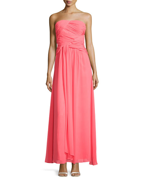 c16398a85 Laundry by Shelli Segal Strapless Double-Twist Pleated Chiffon Gown, Bright  Calypso Coral