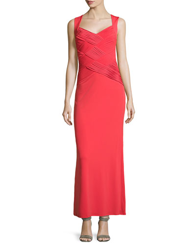 Woven Pleated Bodice Gown, Risque