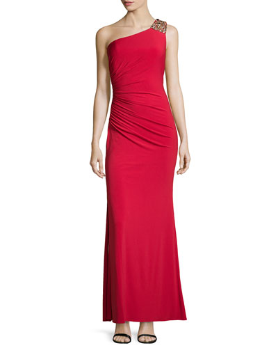 Bejeweled One-Shoulder Open-Back Gown, Parisian Red
