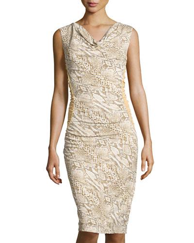 Cowl-Neck Python-Print Sheath Dress, Natural