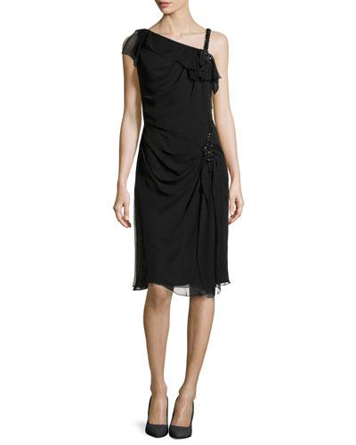 Embellished Asymmetric-Strap Dress, Black