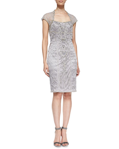 b241e34f179 Sue Wong Embroidered Lace Cap-Sleeve Cocktail Dress