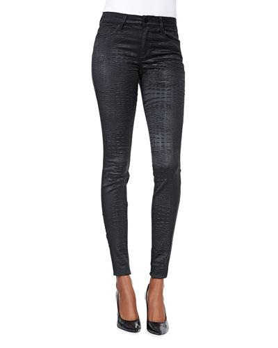 Millie Mid-Rise Crocodile-Print Jeans