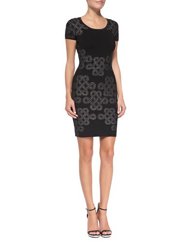 Knot-Print Knit Short-Sleeve Sheath Dress