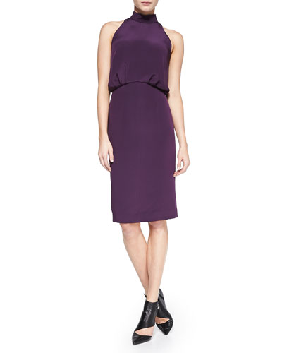 Silk Halter Dress, Aubergine