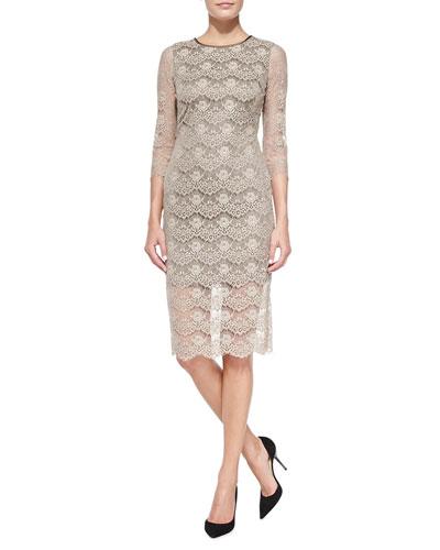 Eloise 3/4-Sleeve Lace Sheath Dress