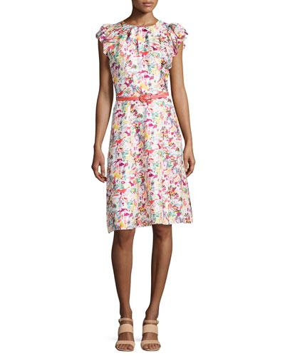 Printed Ruffle-Sleeve Dress