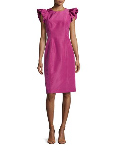 Faille Ruffle-Sleeve Dress, Framboise