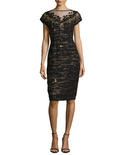 Embellished Tweed Evening Dress, Black/Gold