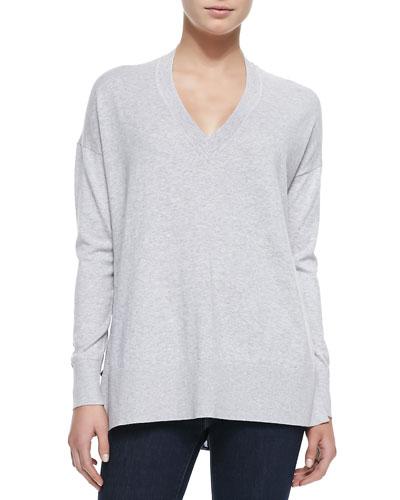 V-Neck Leopard Print-Back Sweater, Gray/Navy Leopard